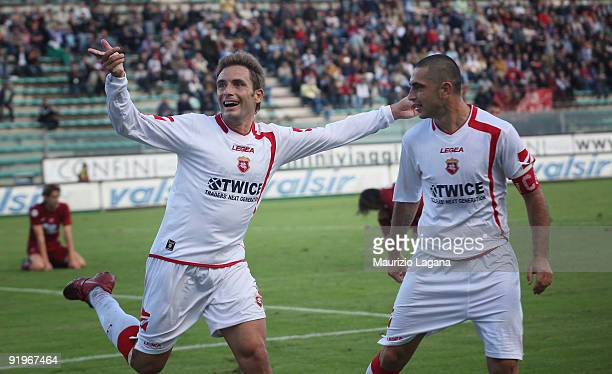 Roberto Colacone of AC Ancona celebrates his goal with teammate Salvatore Mastronunzio during the Serie B match played between Reggina Calcio and AC...