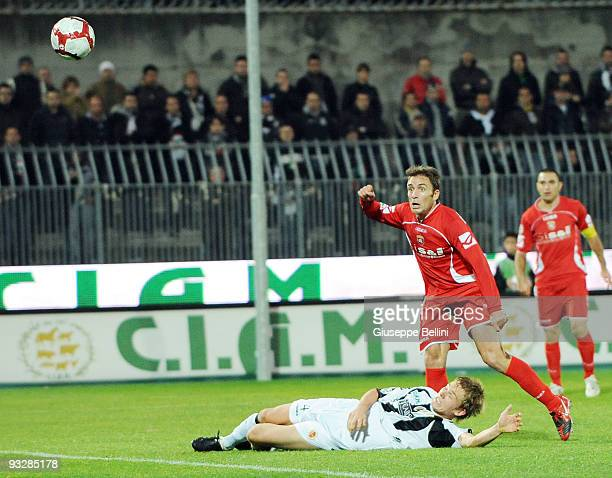 Roberto Colacone of AC Ancona scores the goal during the Serie B match between Ascoli Calcio and AC Ancona at Stadio Cino e Lillo Del Duca on...