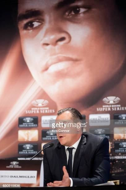 Roberto Dalmiglio Comosa's Head of Management Board speaks during a press conference to announce the World Boxing Super Series at The Pierre Hotel on...