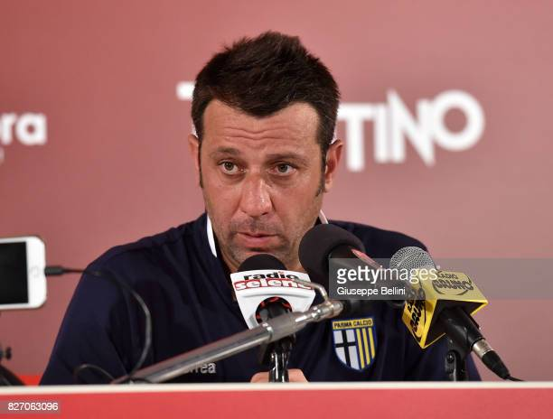 Roberto D'Aversa head coach of Parma Calcio during press conference after the TIM Cup match between AS Bari and Parma Calcio at Stadio San Nicola on...