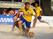 Roberto De Araujo of Brazil in action during the Samsung Beach Soccer Intercontinental Cup Dubai 2014 match between Brazil and the United States at...