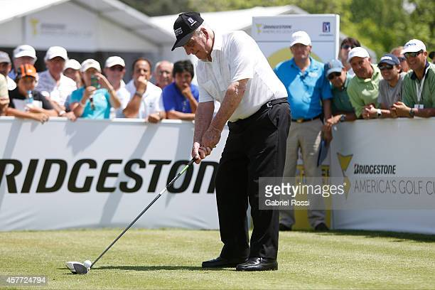 Roberto De Vicenzo former PGA Tour player of Argentina tees off on the first hole not as part of the cup during the first round of America's Golf Cup...