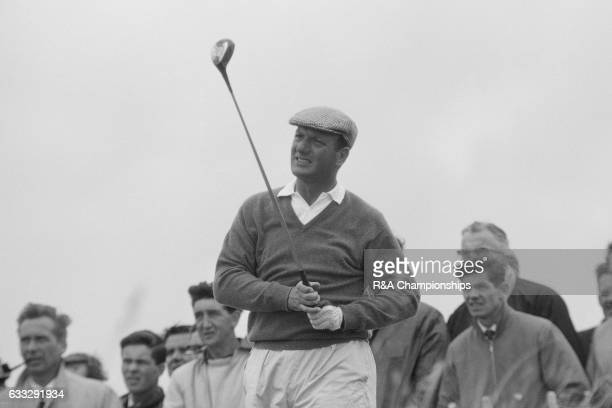 Roberto De Vicenzo of Argentina plays a shot during the 1965 Open Championship at Royal Birkdale Golf Club Liverpool England
