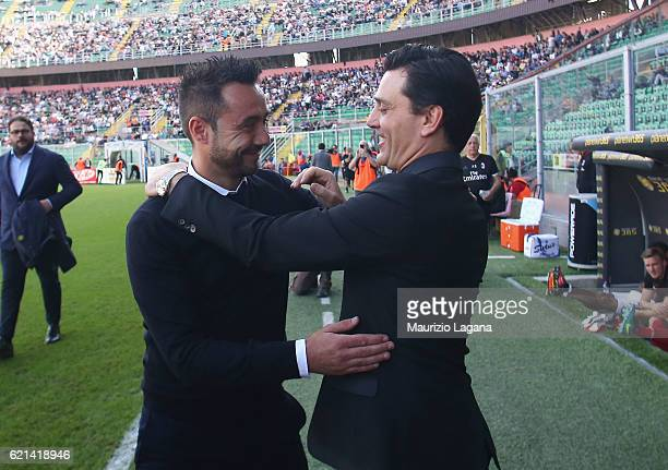 Roberto De Zerbi of Palermo and Vincenzo Montella of Milan during the Serie A match between US Citta di Palermo and AC Milan at Stadio Renzo Barbera...