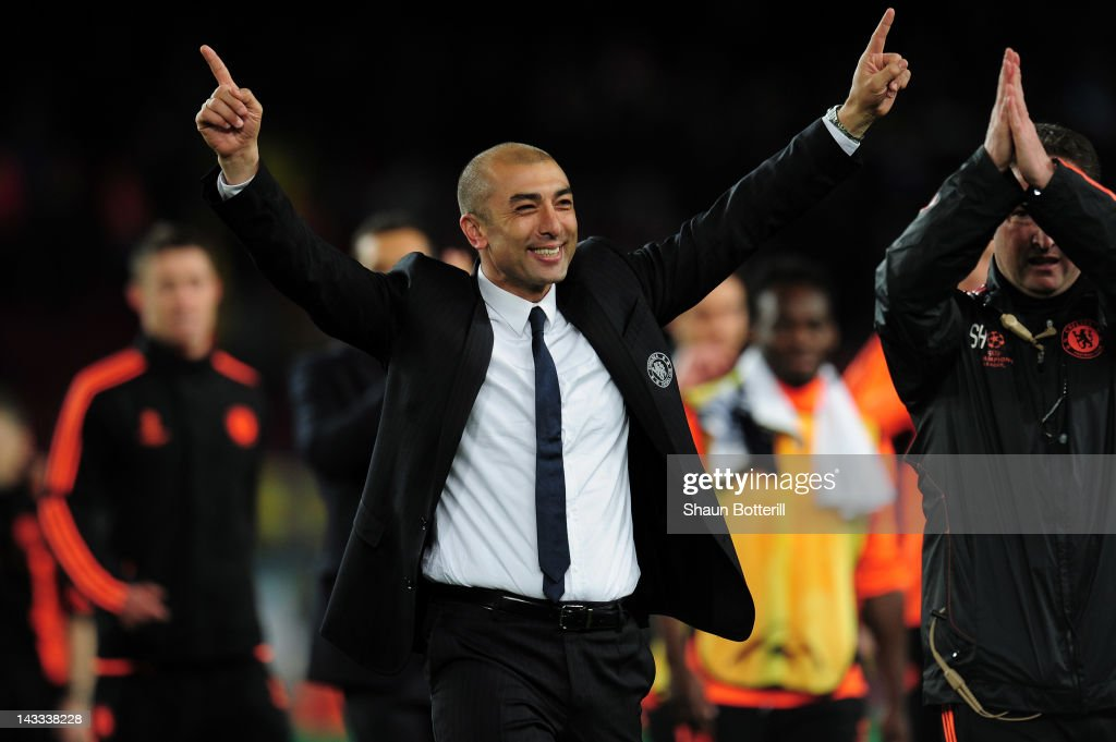 <a gi-track='captionPersonalityLinkClicked' href=/galleries/search?phrase=Roberto+Di+Matteo&family=editorial&specificpeople=2380083 ng-click='$event.stopPropagation()'>Roberto Di Matteo</a> caretaker manager of Chelsea celebrates victory at the final whistle during the UEFA Champions League Semi Final, second leg match between FC Barcelona and Chelsea FC at Camp Nou on April 24, 2012 in Barcelona, Spain.