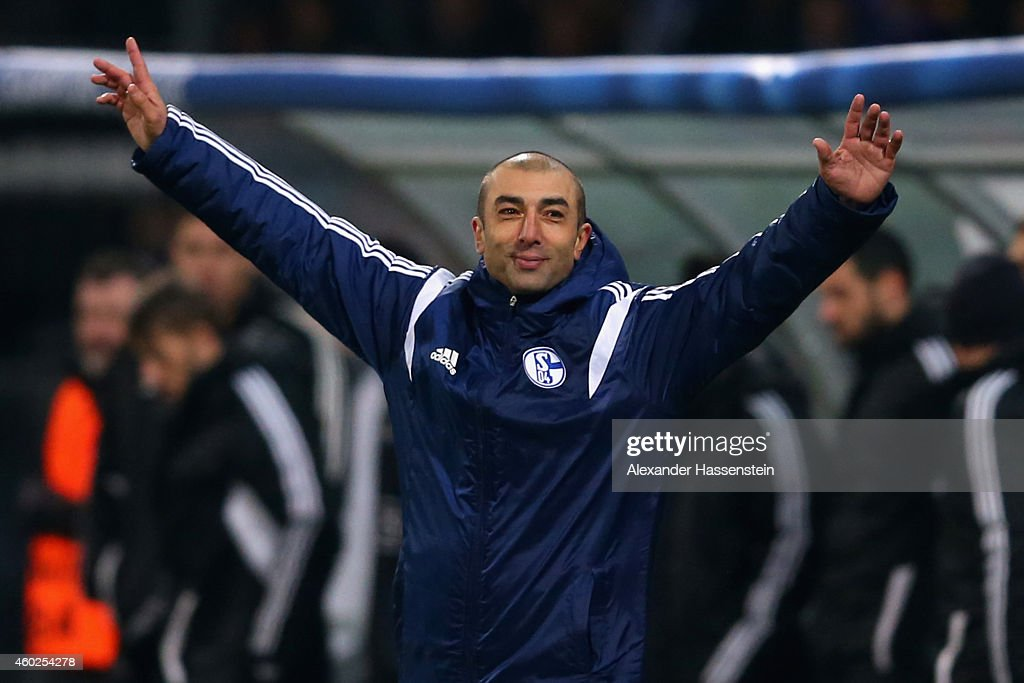<a gi-track='captionPersonalityLinkClicked' href=/galleries/search?phrase=Roberto+Di+Matteo&family=editorial&specificpeople=2380083 ng-click='$event.stopPropagation()'>Roberto Di Matteo</a>, head coach of Schalke celebrates after winning the UEFA Group G Champions League match between NK Maribor and FC Schalke 04 at Ljudski vrt Stadium on December 10, 2014 in Maribor, Slovenia.