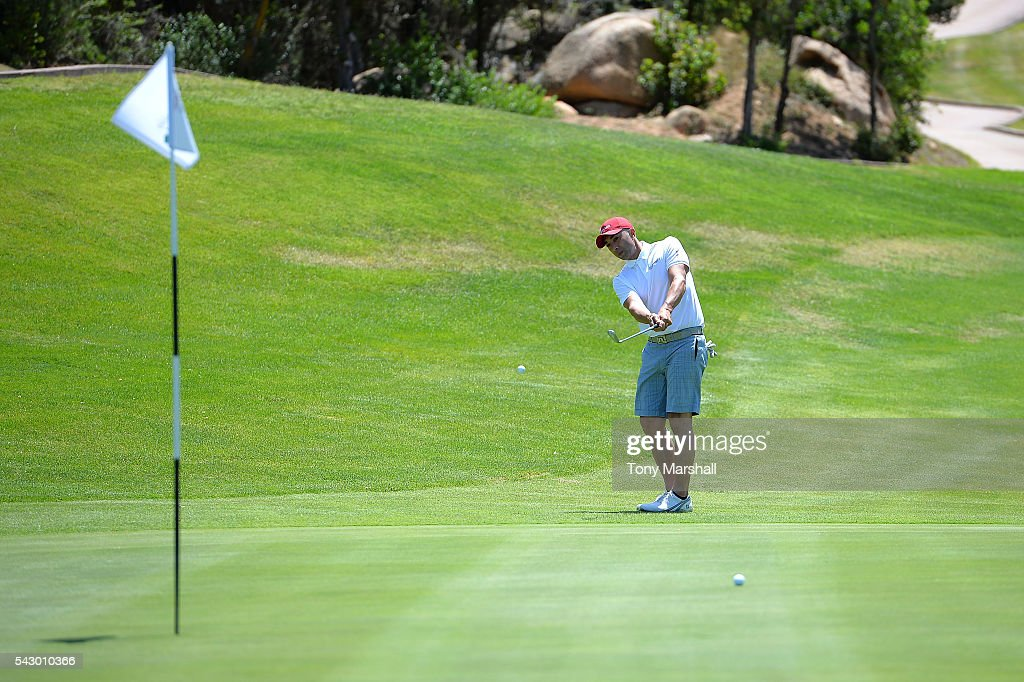Roberto di Matteo tees off during The Costa Smeralda Invitational golf tournament at Pevero Golf Club - Costa Smeralda on June 25, 2016 in Olbia, Italy.
