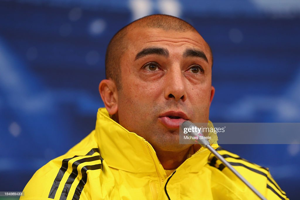 Roberto Di Matteo the Chelsea manager during the Chelsea Press Conference ahead of the UEFA Champions League Group E match between Shakhtar Donetsk and Chelsea at Donbass Arena on October 22, 2012 in Donetsk, Ukraine.