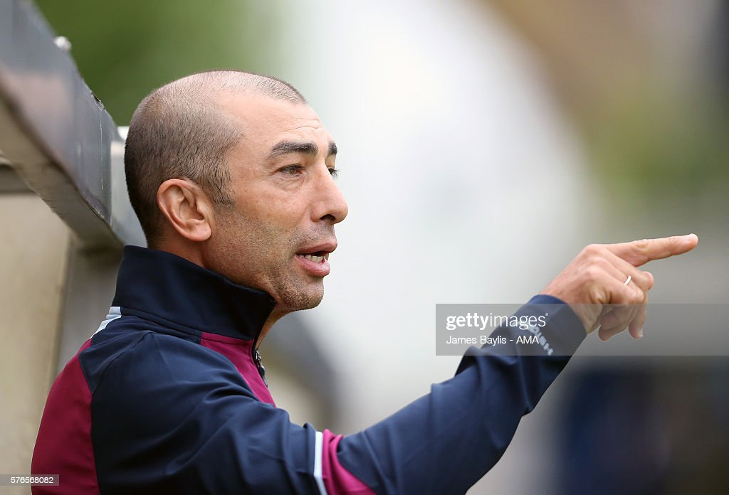 Roberto Di Matteo the head coach / manager of Aston Villa during the pre-season friendly match between AFC Telford United and Aston Villa at the New Bucks Head Stadium on July 16, 2016 in Telford, England.