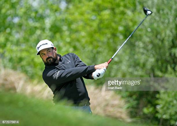 Roberto Diaz hits a drive on the second hole during the final round of the Webcom Tour United Leasing Finance Championship at Victoria National Golf...