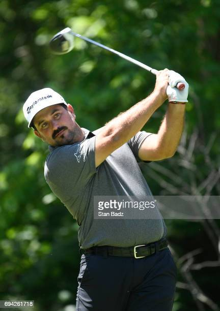 Roberto Diaz hits a drive on the second hole during the second round of the Webcom Tour RustOleum Championship at Ivanhoe Club on June 9 2017 in...