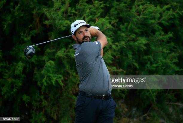 Roberto Diaz of Mexico htis a drive during the third round of the Webcom Tour Championship held at Atlantic Beach Country Club on September 30 2017...