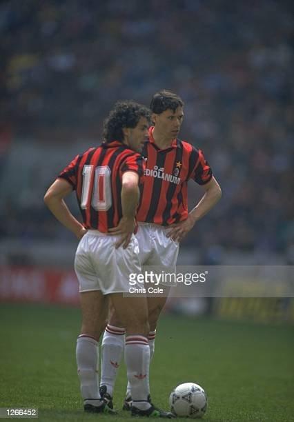 Roberto Donadoni and Marco Van Basten of AC Milan wait to play during a Serie A match in Italy Mandatory Credit Chris Cole/Allsport