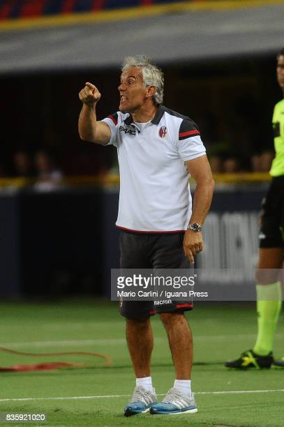 Roberto Donadoni head coach of Bologna FC gestures during the Serie A match between Bologna FC and Torino FC at Stadio Renato Dall'Ara on August 20...