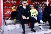 Roberto Donadoni head coach of Bologna FC looks on priorthe beginning of the Serie A match between Bologna FC and Atalanta BC at Stadio Renato...