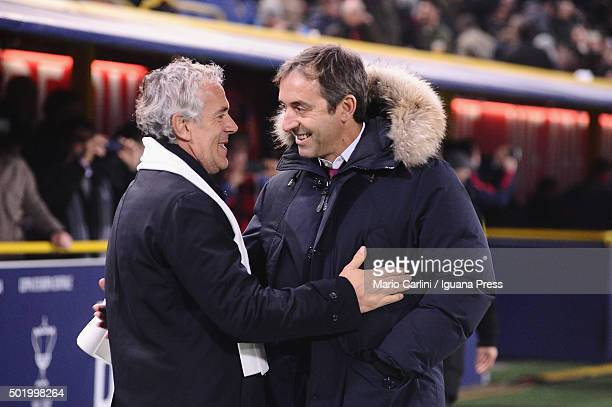 Roberto Donadoni head coach of Bologna FC Marco Giampaolon head coach of Empoli FC shake hands before the beginning of the Serie A match between...