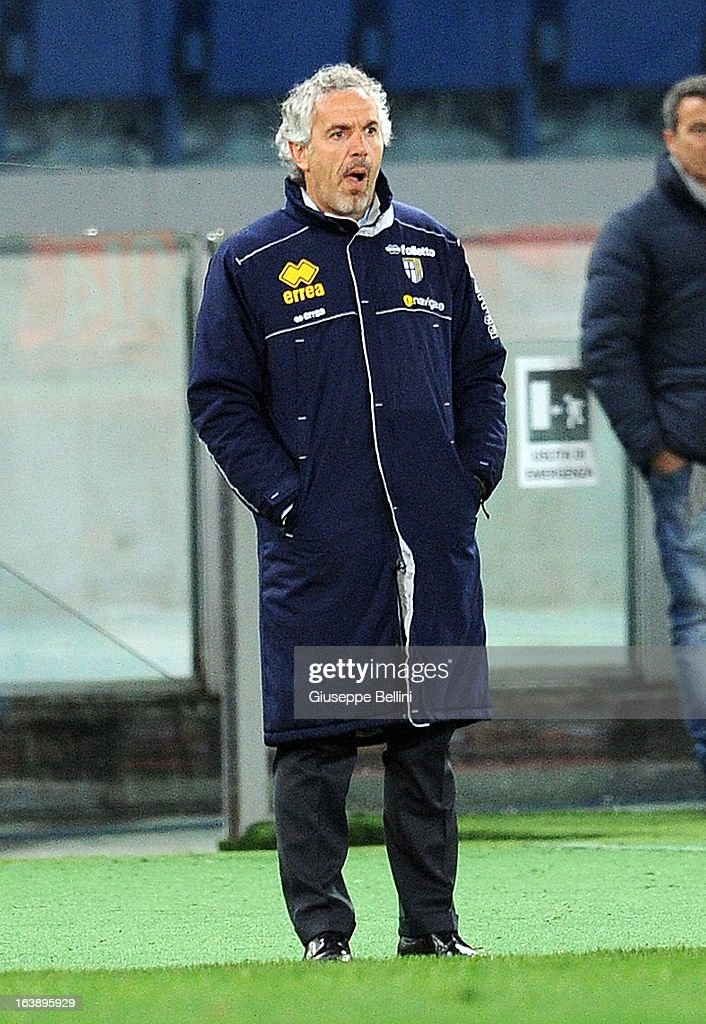 Roberto Donadoni head coach of Parma during the Serie A match between AS Roma and Parma FC at Stadio Olimpico on March 17, 2013 in Rome, Italy.