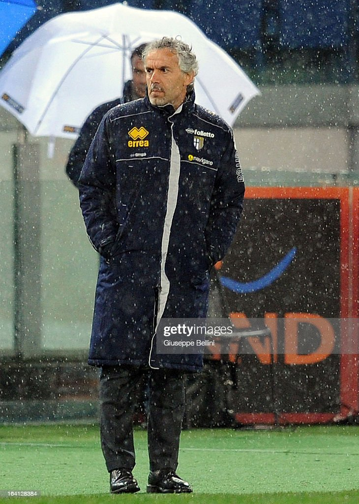 Roberto Donadoni, head coach of Parma during the Serie A match between AS Roma and Parma FC at Stadio Olimpico on March 17, 2013 in Rome, Italy.