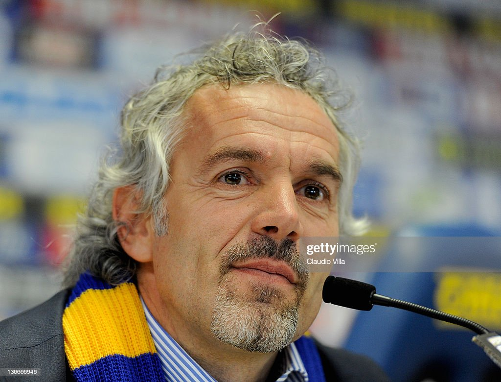 Roberto Donadoni new coach of Parma FC appears during a press conference at Stadio Ennio Tardini on January 10 2012 in Parma Italy