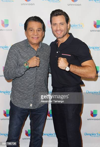 Roberto Duran and Edgar Ramirez are seen on the set of 'Despierta America' to promote the film 'Hands of Stone' at Univision Studios on August 18...
