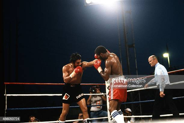 Roberto Duran and Robbie Sims boxing on June 23 1986 in Caesars Palace Las Vegas Nevada