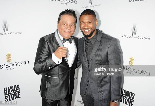 Roberto Duran and Usher Raymond attend The Weinstein Company's HANDS OF STONE Cocktail Party presented by de Grisogono at Terrasse by Albane in...