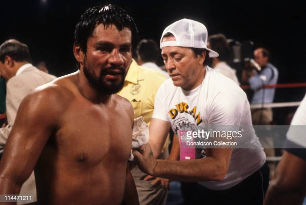 Roberto Duran at the end of the fight against Robbie Sims on June 23 1986 in Caesars Palace Las Vegas Nevada