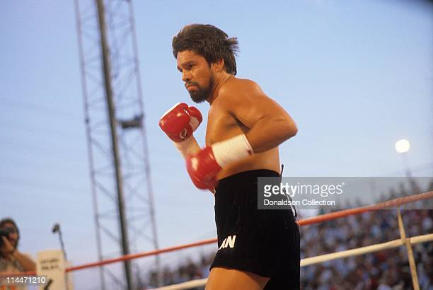 Roberto Duran boxing on June 23 1986 in Caesars Palace Las Vegas Nevada