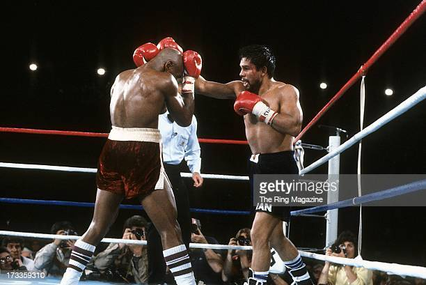 Roberto Duran lands a punch against Marvin Hagler during the fight at Caesars Palace IN Las Vegas Nevada Marvin Hagler won the WBC middleweight...