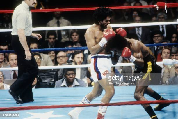 Roberto Duran lands a punch against Sugar Ray Leonard during the fight at the Superdome in New Orleans Louisiana Sugar Ray Leonard won the WBC...