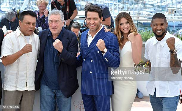 Roberto Duran Robert De Niro Ana de Armas and Edgar Ramirez and Usher attend the 'Hands Of Stone' Photocall at the annual 69th Cannes Film Festival...
