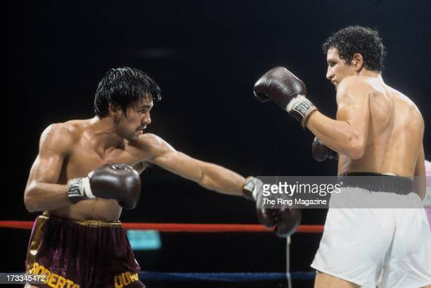 Roberto Duran throws a punch against Edwin Viruet during the fight at the Spectrum in Philadelphia Pennsylvania Roberto Duran won the WBA World...
