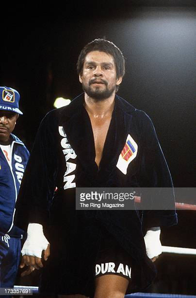 Roberto Duran walks in the right before the fight against Marvin Hagler at Caesars Palace IN Las Vegas Nevada Marvin Hagler won the WBC middleweight...
