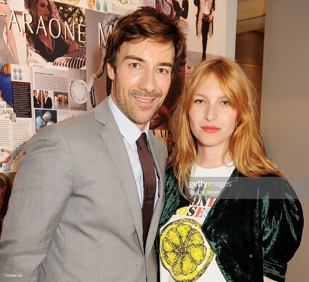 Roberto Faraone Mennella (L) and Josephine de la Baume attend the 12th birthday of New York jewellery house Faraone Mennella, with guest of honour Patricia Field, at their Knightsbridge store on June 13, 2013 in London, England.