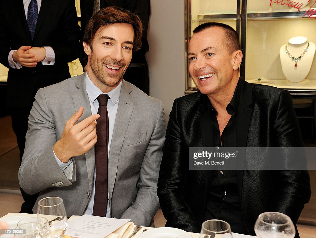 Roberto Faraone Mennella (L) and Julien Macdonald attend the 12th birthday of New York jewellery house Faraone Mennella, with guest of honour Patricia Field, at their Knightsbridge store on June 13, 2013 in London, England.
