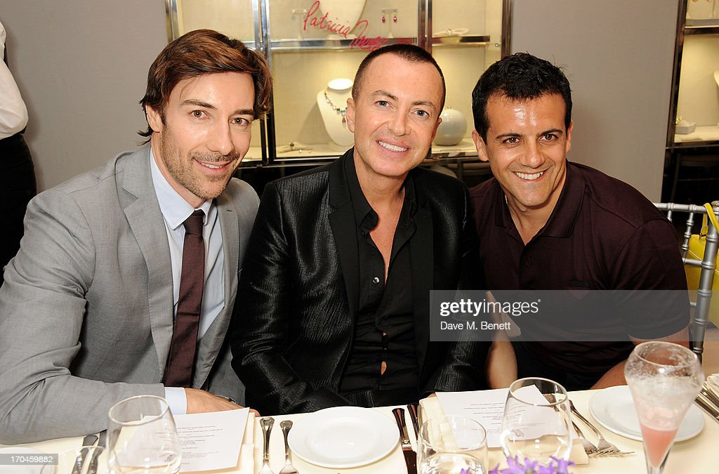 Roberto Faraone Mennella, Julien Macdonald and Amedeo Scognamiglio attend the 12th birthday of New York jewellery house Fararone Mennella, with guest of honour Patricia Field, at their Knightsbridge store on June 13, 2013 in London, England.