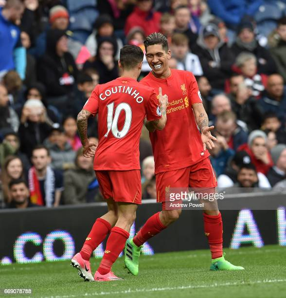 Roberto Firmino Celebrates after putting Liverpool ahead during the Premier League match between West Bromwich Albion and Liverpool at The Hawthorns...