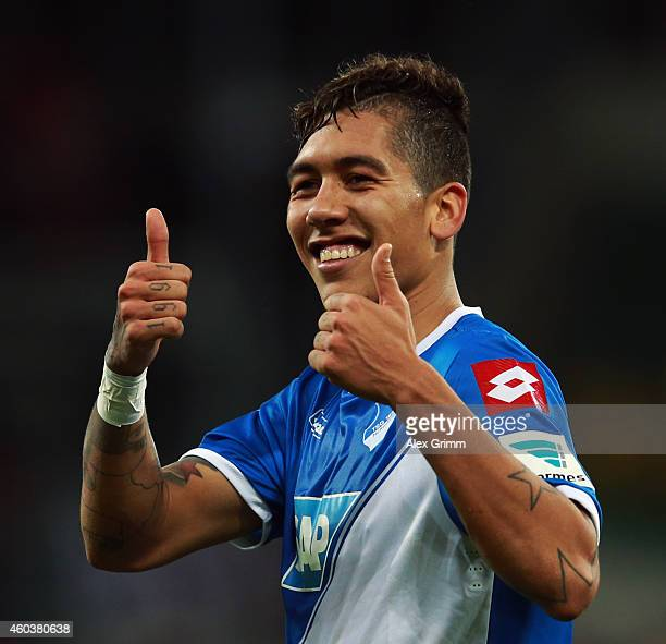 Roberto Firmino of Hoffenheim celebrates after the Bundesliga match between 1899 Hoffenheim and Eintracht Frankfurt at Wirsol RheinNeckarArena on...