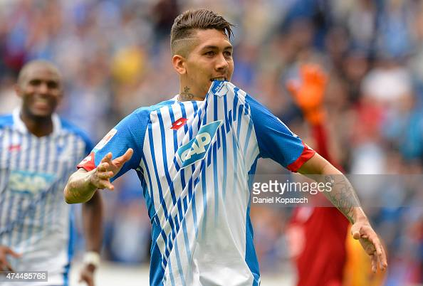 Roberto Firmino of Hoffenheim celebrates his team's second goal during the Bundesliga match between 1899 Hoffenheim and Hertha BSC at Wirsol...