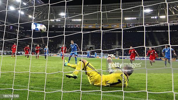 Roberto Firmino of Hoffenheim misses a penalty shot against goalkeeper Bernd Leno goalkeeper Bernd Leno of Leverkusen during the Bundesliga match...