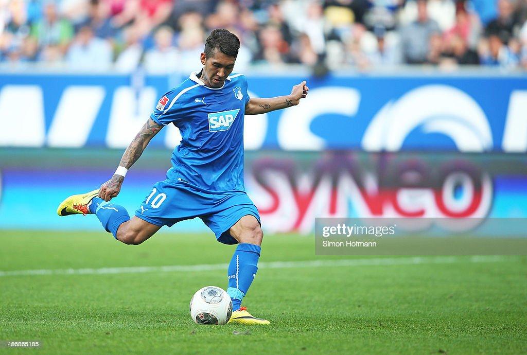 Roberto Firmino of Hoffenheim misses a penalty shot during the Bundesliga match between 1899 Hoffenheim and Eintracht Frankfurt at Wirsol Rhein-Neckar Arena on April 26, 2014 in Sinsheim, Germany.