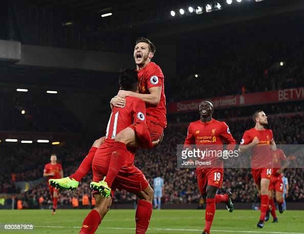 Roberto Firmino of Liveprool celebrates after scoring during the Premier League match between Liverpool and Stoke City at Anfield on December 27 2016...