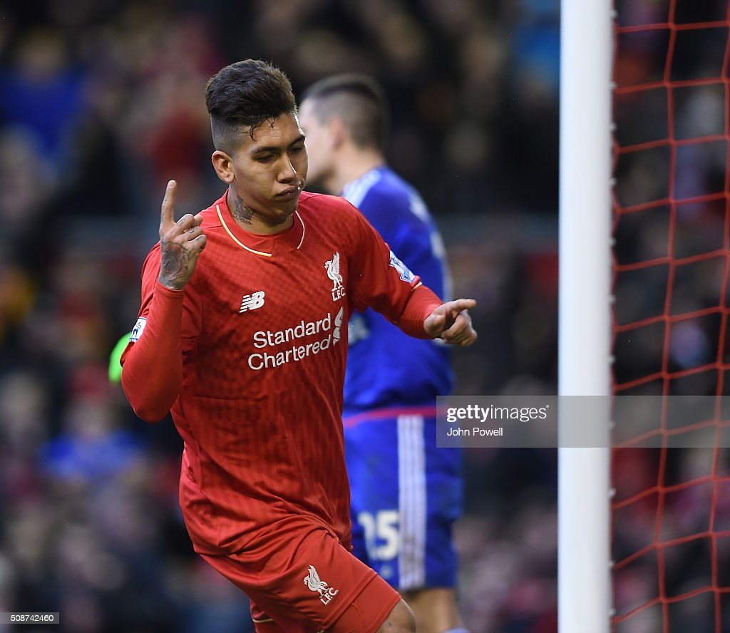 <a gi-track='captionPersonalityLinkClicked' href=/galleries/search?phrase=Roberto+Firmino&family=editorial&specificpeople=7522629 ng-click='$event.stopPropagation()'>Roberto Firmino</a> of Liverpool celebrates his goal during the Barclays Premier League match between Liverpool and Sunderland at Anfield on February 6, 2016 in Liverpool, England.