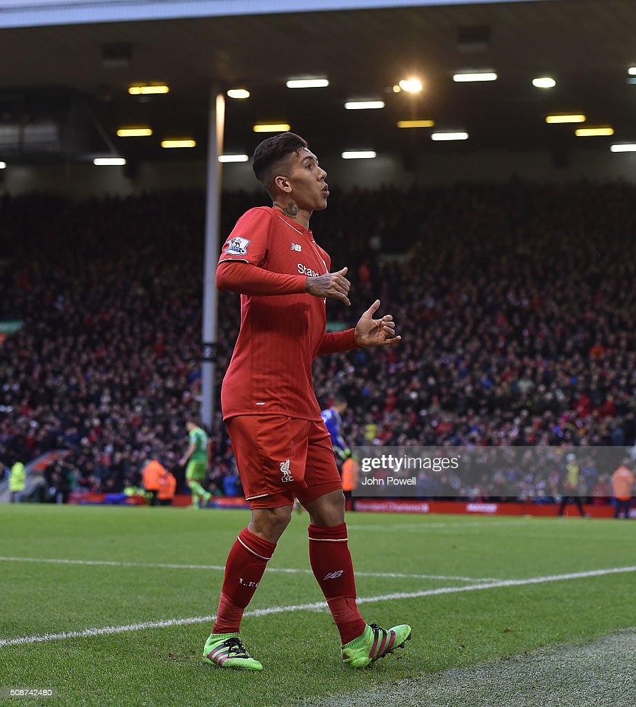 <a gi-track='captionPersonalityLinkClicked' href=/galleries/search?phrase=Roberto+Firmino&family=editorial&specificpeople=7522629 ng-click='$event.stopPropagation()'>Roberto Firmino</a> of Liverpool does a dance to celebrate his goal during the Barclays Premier League match between Liverpool and Sunderland at Anfield on February 6, 2016 in Liverpool, England.