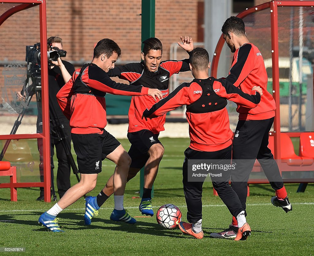 Roberto Firmino of Liverpool during a training session at Melwood Training Ground on April 19, 2016 in Liverpool, England.