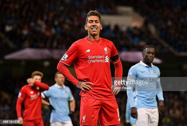Roberto Firmino of Liverpool during the Barclays Premier League match between Manchester City and Liverpool at Etihad Stadium on November 21 2015 in...