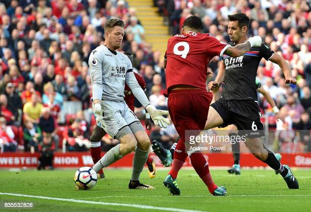Roberto Firmino of Liverpool during the Premier League match between Liverpool and Crystal Palace at Anfield on August 19 2017 in Liverpool England
