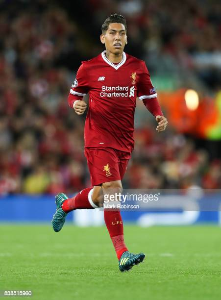 Roberto Firmino of Liverpool during the UEFA Champions League Qualifying PlayOffs round second leg match between Liverpool FC and 1899 Hoffenheim at...