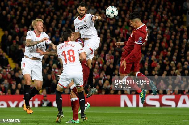 Roberto Firmino of Liverpool heads towards goal during the UEFA Champions League group E match between Liverpool FC and Sevilla FC at Anfield on...
