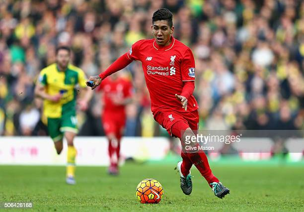 Roberto Firmino of Liverpool in action during the Barclays Premier League match between Norwich City and Liverpool at Carrow Road on January 23 2016...